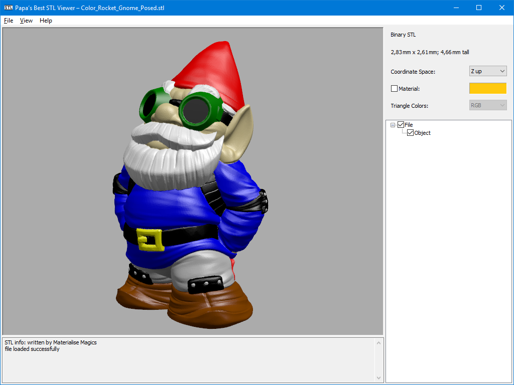 Papa's best STL Viewer displaying Color MakerBot Gnome by silby101 on Thingiverse